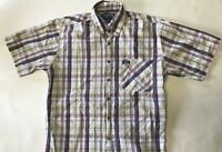 Wrangler TwentyX 20X Cowboy Rodeo Button Shirt Western Plaid Short Sleeve Medium