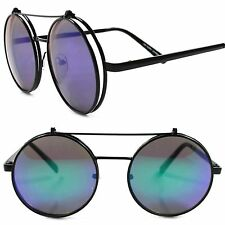 Django Inspired Urban Hip Green Mirrored Lens Steampunk Round Flip Up Sunglasses