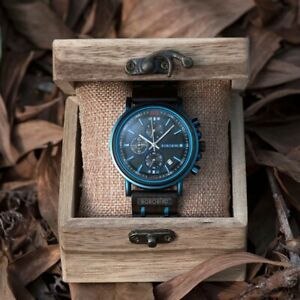 Wooden Watch for Men - Analogue with Blue Highlights - Date and Stopwatch Timer
