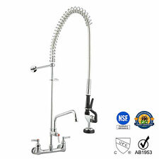 "12"" Wall Mount Commercial Pre-Rinse Faucet Kitchen Pull Out Down Sink w/ Sprayer"