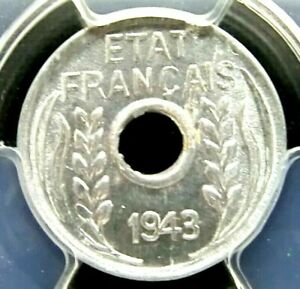 PCGS MS64 Gold Shield-French Indo China 1943 Leafy Sprays 1 Cent Choice BU