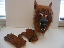 ADULT COSTUME THICK LATEX WEREWOLF HAIRY MASK & HANDS HALLOWEEN THEATER