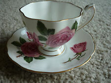 VINTAGE FOOTED CUP & SAUCER/QUEEN ANNE/ ROYAL ROSES PATTERN