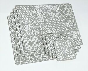 Set of 4 Geometric White Grey Table Placemats Coasters Dining Cork Mats