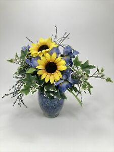 Sunflower Bouquet with Glass Vase, Silk Artificial Yellow & Blue  Flowers