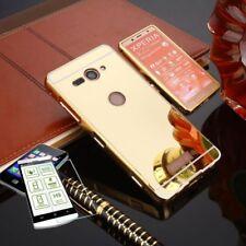 Pare-chocs en aluminium de 2 pièces doré + 0,3 H9 verre pour Sony Xperia XZ2