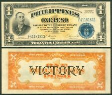 ND (1944) US Philippines 1 Peso VICTORY Osmena-Hernandez Banknote P-94 UNC