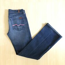 Seven 7 For All Mankind Women's Jeans Flare Pink Sz 28 X 30 Dark Wash Low Rise