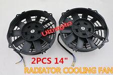 "2Pcs UNIVERSAL SLIM 14"" PULL PUSH RADIATOR ENGINE / OIL COOLING FAN+MOUNTING KIT"