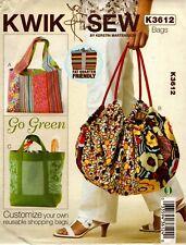 Kwik Sew Sewing Pattern K3612 3612 Go Green Reusable Shopping Bags
