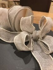 Light Grey Hessian Ribbon, Jute, Burlap, 38mm Wide, Wired Edges, Lovely For Bows