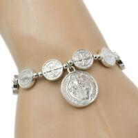 Saint St Benedict Medal Stretch Bracelet Silver Pulsera De Plata De San Benito