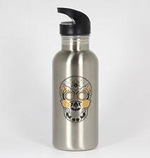 Halloween Sugar Skull #184 - Funny 20oz Silver Water Bottle Dia de Muerto