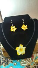 And Necklace Plumeria Foam Set Of Two Earing