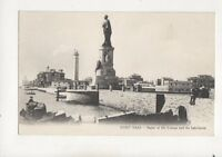 Port Said Statue Of De Lesseps & Lighthouse Egypt Vintage Postcard 313b