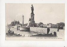 Port Said Statue Of De Lesseps & Lighthouse Egypt Vintage Postcard 313b