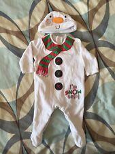 Christmas Fleecy Snowman Sleepsuit 0-3 Months