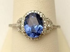 Certified 3.35CT Blue Oval Cut Diamond Engagement Wedding 14K White Gold Ring