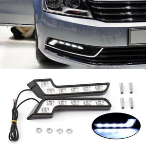 2PCS Car L Shape White 6 LED Daytime Running Driving Light Lamp ABS Plastic 12V