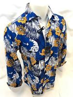 Mens SUSLO COUTURE BLUE FLORAL BUTTON UP Designer Shirt Woven SLIM FIT 804-6 NWT