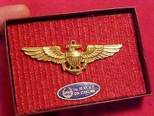 ORIGINAL US WWII FULL SIZE STERLING NAVAL AVIATOR PILOT WINGS IN GEMSCO BOX