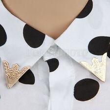 2 Pair Light Gold White Blouse Shirt Metallic Metal Pointed Collar Clip Wing Tip