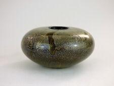 Isle of Wight Studio Glass small Azurene vase gold & silver leaf donut squat