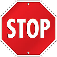 """""""Stop Sign"""" Two-Sided Hanging Window Display 15"""" x 15"""" Home Office School"""