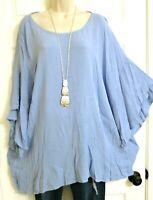 Bobeau Boho NWT Gorgeous Tiered 3/4 Length Bell Sleeves Crinkle Top Plus 2X Blue