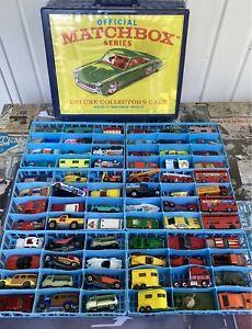 c1960-80's Matchbox Lot of 72 Cars Trucks Superfast Carry Case Lesney Hot Wheels