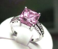 Sterling Silver Ring Size 7 Princess Cut Fancy Pink 925