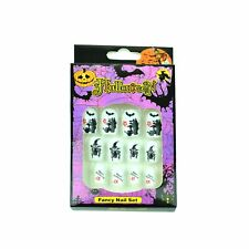 12 Halloween Fake Nails Art Decals Set Fancy Dress Costume Party Fun Accessories