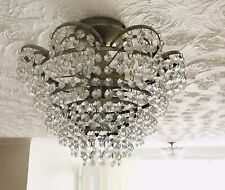 TWO BRASS LIGHT FITTINGS WITH CRYSTAL DROPLETS
