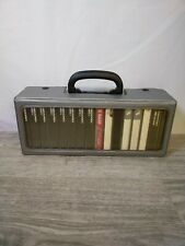 Vintage Small Travel Audio Cassette Tape Storage Case Holder + 16 Tapes Bundle