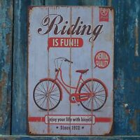 Riding IS FUN BICYCLE Poster Metal Tin Signs Art Wall Display Home Decor