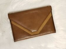 Vintage Bi-color Leather Envelope Clutch, Brown and Camel