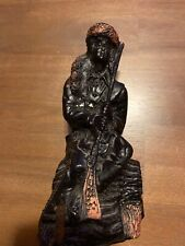 Hand Carved Vintage Coal Figurine Daniel Boone-6 1/4 Inches Tall