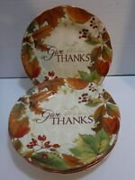 222 Fifth Harvest Festival  Porcelain Salad Plates Set of Four New With Script