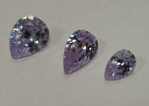 Cubic Zirconia Loose Stone PEAR TEARDROP crystal gem LILAC PURPLE PREMIUM