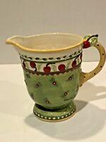 "Vintage Large Ceramic 1998 Signed Mary Engelbreit Cherry 7"" Pitcher"