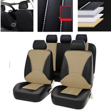 9x Black/Beige Car Front Rear Seat Cover PU Leather Breathable Cushion Universal