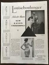 ORIGINAL 1929 Carter's Rayon Underwear PRINT AD Louiseboulanger Paris Art Deco