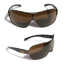 Mens Oversized Sunglasses Khan SHIELD Brown frame amber  yellow cool SHADE 3399