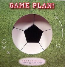 "NIB POTTERY BARN ""GAME PLAN"" SPORTS PLATES - SOCCER, BASEBALL, GOLF, BASKETBALL"