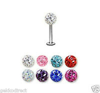 Ferido Crystal Labret Lip Stud Tragus Bar with Swarovski Elements - 6 or 8mm