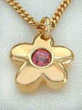 Anhänger Blume mit Zirkonia in Pink - Schmuckset Goldkette pl und Anhänger