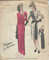 1940s Vintage VOGUE Sewing Pattern B34 DRESS (R878)