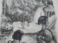 Rare curiosa Paul-Emile Bécat gravure parfait état scène galante pointe sèche