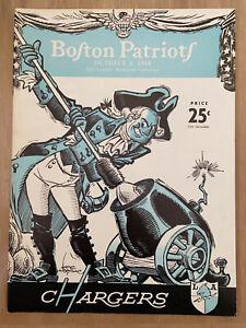 VINTAGE 1960 AFL BOSTON PATRIOTS @ LA CHARGERS FIRST YEAR FOOTBALL PROGRAM