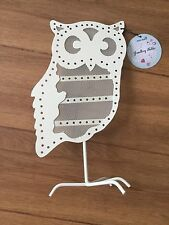 Metal lovely OWL Shabby Chic Earring Holder Display Cream Wire Heart Jewellery